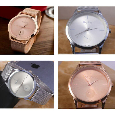 UK Women Ladies Rose Gold Silver Plated Stainless Steel Mesh Band Wrist Watch