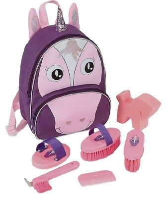 Bridleway Flossy Unicorn Rucksack Childs Grooming Kit Inc Brushes Combs Sponge