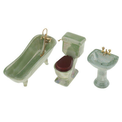 MagiDeal 4 Pieces Dollhouse Miniature Ceramic Bathroom Furniture Set Green
