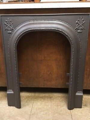 Antique Cast Iron Fireplace Surround Arched With Crest Motif