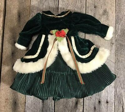 Antique/ Vintage Fur Lined Victorian Christmas Doll Dress, 9 Inches