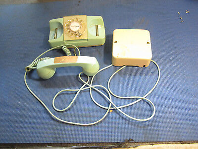 old dial telephone with ringer box