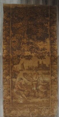 HUGE ANTIQUE FRENCH CHATEAU 19th c TAPESTRY PANEL COUNTRY SCENE