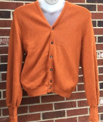 Vtg 60s Mens ARNOLD PALMER Robert Bruce Rust Alpaca Wool Cardigan Sweater Large