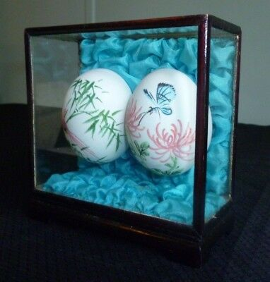 Vintage Oriental Hand-Painted Eggs in Glass Display Case - Antique Blue Decor