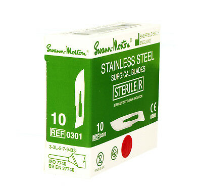 100 x SWANN MORTON STERILE No10 STEEL Scalpel Blades / No3 Handle / Spares Box
