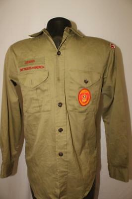 vintage BSA Boy Scouts of America mens small uniform shirt SENIOR patches eagle