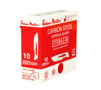 100 x SWANN MORTON No10 CARBON Scalpel Blades / No3 Handle / Spares Box STERILE
