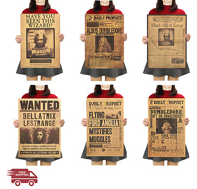 Harry Potter Classic Movie Kraft Paper Poster Daily Prophet Wanted Vintage Retro