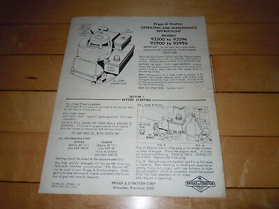 Briggs & Stratton Operating & Maintenance Instructions 92500 to 92596