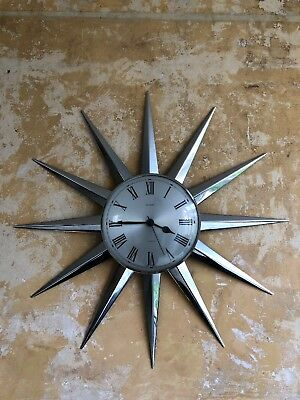 vintage iconic retro 60s METAMEC SUNBURST gold star wall CLOCK – 59cm – working