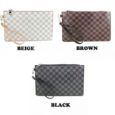 Womens Ladies Fashion Checkered Envelope Clutch Evening Strap Bag Purse Wallet