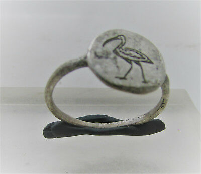 Superb Medieval British Silver Ring With Stork On Bezel