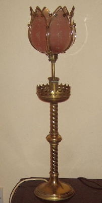 Fabulous Rare Large Antique Art Deco Solid Brass Gallery Table Lamp Complete