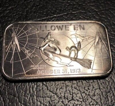 1973 Madison Mint 1 Oz Flying Witch Halloween .999 Fine Silver Bar