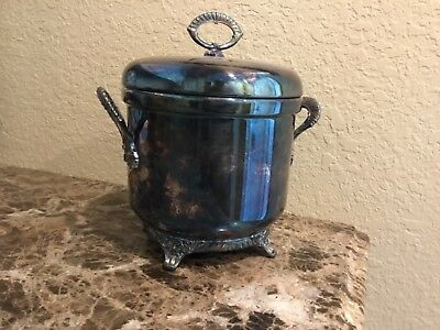 Vintage NEIMAN MARCUS Silver-plate Shell & Gadroon Footed Insulated Ice Bucket