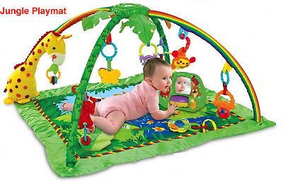 New Tropical Jungle Baby Play Gym Crawl & Soft Hanging Musical Activity Mat 0 M+