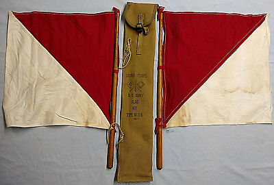 Vintage US ARMY Signal Corps, Signalling Flag Kit, with 2 flags, Circa WWII