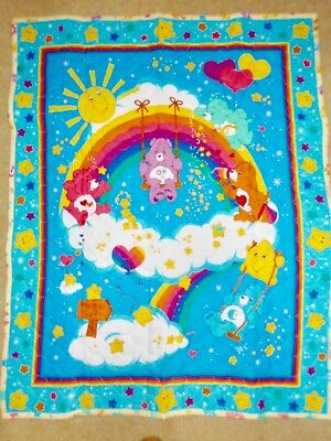 """NEW HAND MADE COLORFUL CARE BEAR RAINBOW BABY QUILT 35""""x43"""""""