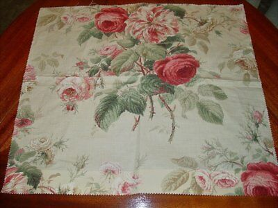 "NEW 21x23"" Colefax & Fowler Jubilee Rose Linen-Blend Fabric Sample~Red/Green"