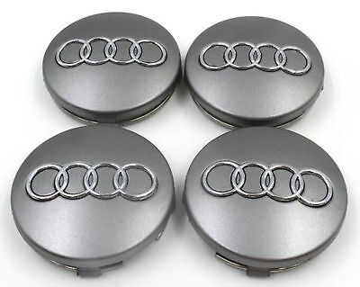 Fits Audi Wheel Centre Caps x4 60mm Grey 4B0601170 A 1 2 3 4 5 6 7 8 Q RS TT