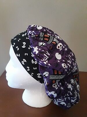 Happy Halloween Women's Bouffant Surgical Scrub Hat/Cap Handmade