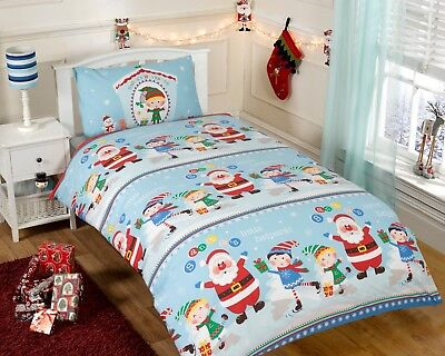 Children's Santa's Christmas Workshop Duvet Quilt Cover & Pillowcase Bedding Set