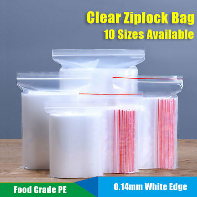 100x Clear Ziplock Bag 0.14mm Resealable Mylar Flat Food Grade Pouch Small-Large