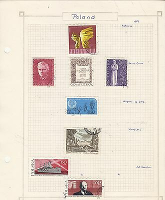 POLAND  1967 Stamps on old Album Page Removed for Shipping..