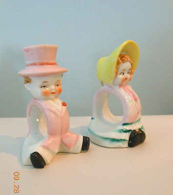 "RARE VINTAGE 40's PAIR OF ART DECO BOY GIRL NAPKING RINGS 4.25"" BRIDE OR GROOM"