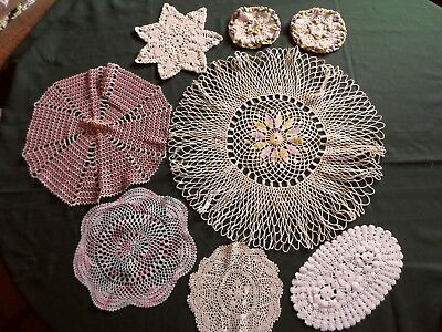 Lovely lot of 8 Vintage Hand Crocheted & TATTED Doilies and pot holders