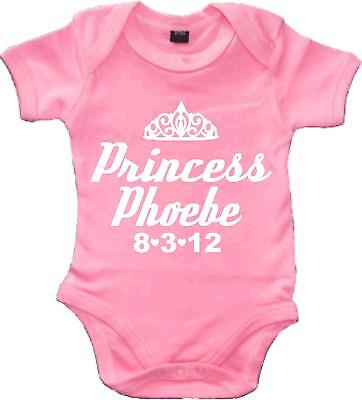 Personalised Baby bodysuit 'PRINCESS WITH NAME OF CHILD AND DATE OF BIRTH'