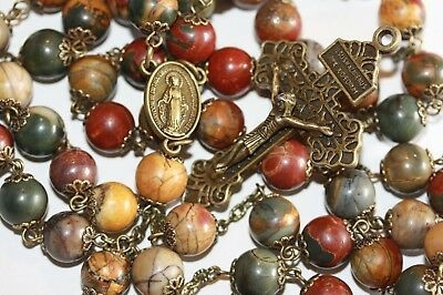 Picasso Jasper Rosary in Bronze Natural Stone Bead Five Decade made in Oklahoma