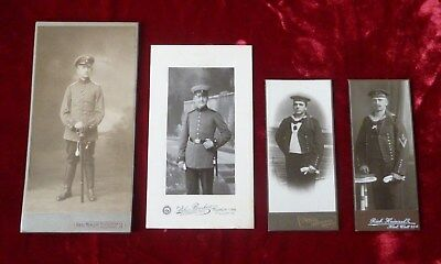 Lot De 4 Photos (Cdv) Soldats Allemands 1914-18.