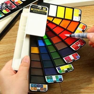 Solid Watercolor Paint Set Fan Design Foldable With A Brush For Outdoor Painting