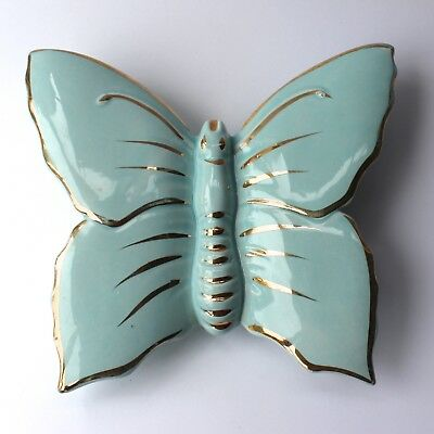 Vintage Butterfly Wall Pocket Vase Pale Blue & 22k Gold Hand Painted Detail 50s