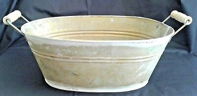 "12"" Old Antique Tin Metal Oval Decorating Display Tub Wood Handles Patina Grungy"