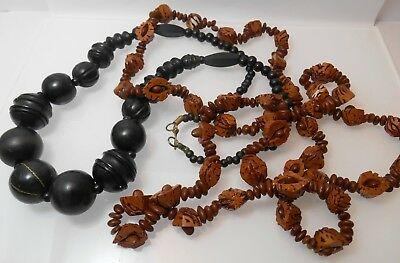 Job Lot Of Jewellery TWO CHUNKY VINTAGE WOODEN BEADED NECKLACES BROWN NUT SEED