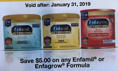 Enfamil/Enfagrow Product Coupons, Total Value $32