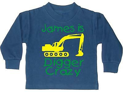 Edward Sinclair PERSONALISED DIGGER CRAZY WITH NAME' Boys Navy SWEATSHIRT with y