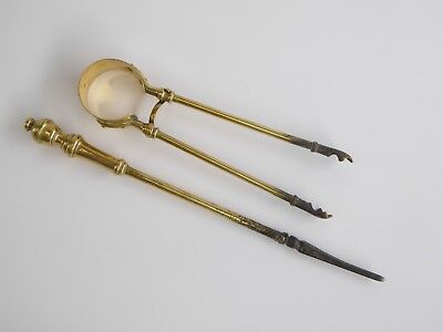 Antique Vintage Brass Fire Tools Poker Tongs Grabs