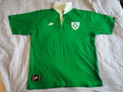 Rare Classic 1993 to 1995 Nike Ireland Home Rugby Union Shirt Jersey Men's Large