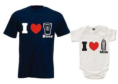 Daddy I Love Beer T-Shirt And Baby I Love Milk Bodysuit Gift Set'