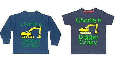 PERSONALISED DIGGER CRAZY WITH NAME' Boys T-shirt and Sweatshirt GIFT SET with y
