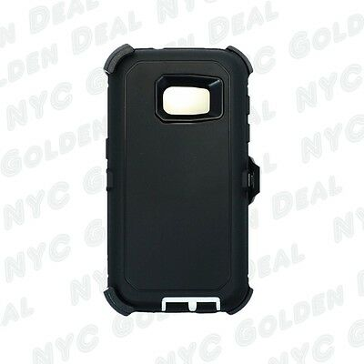 New For Samsung Galaxy S7 Defender Case (Belt Clip Fits Otterbox) Black White