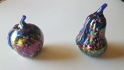 Rare 1991 Signed Gibson Iridescent Multicolored Confetti paperweight apple pear