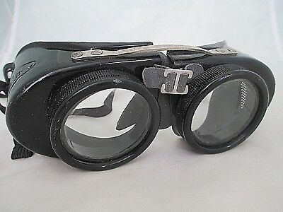 Vintage Steampunk Welding Goggles Clear Glass Lenses Black Plastic