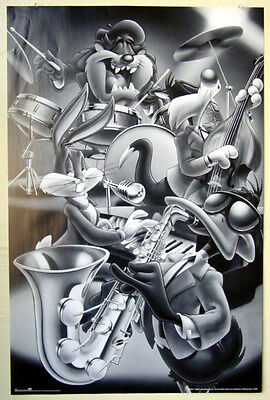 Looney Tunes Playing Music Classic Jazz Poster Bugs Bunny Daffy Duck Sylvester