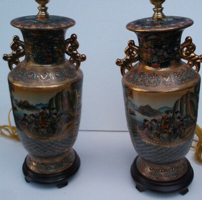 Vintage Pair of Large Oriental Japanese  Porcelain Table Lamps - ESTATE FIND