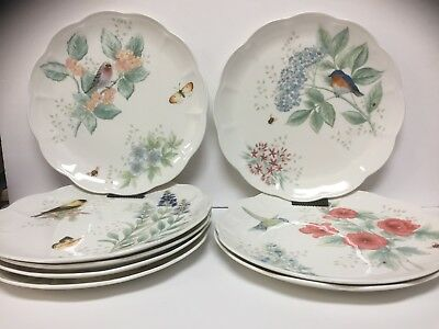 "8  Lenox Butterfly Meadow 11"" Dinner Plates Flowers Scalloped Edge White Nice"